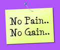 No pain gain represents making it happen and success meaning achieve Stock Photos