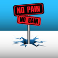 No pain no gain abstract colorful background with two plates with the text coming out from an ice crack Stock Photos