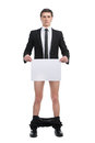 No pants man standing without and holding blank paper Stock Images