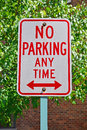 No parking any time sign is a common road in united states of america to indicate that cars or vehicles cannot be left Royalty Free Stock Photography
