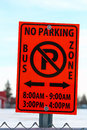 No Parking in Bus School Zone Sign With Applicable Hours Royalty Free Stock Photo