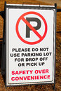 No Parking in school lot sign Royalty Free Stock Photo
