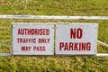 No parking sign to indicate authorized vehicles only Royalty Free Stock Image