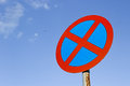 No parking traffic sign over blue sky Royalty Free Stock Photo