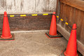 No passing traffic cones for was placed alongside the wall Royalty Free Stock Images