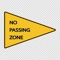 symbol No passing zone sign on transparent background