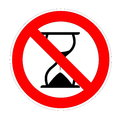 No patience hourglass under warning sign for in white background Stock Photo