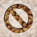No peanuts and a ban on peanut or nut ingredients for allergy reasons as a food prohibition concept with the natural snack behind Stock Photography