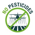 No Pesticides - crossed out crop-duster airplane Royalty Free Stock Photo