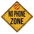 No phone zone vintage rusty metal sign Royalty Free Stock Photo