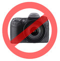 No photography allowed a circle with a line drawn through it superimposed on it to indicate or photo taking Royalty Free Stock Images