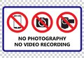 No photography and no video recording signboard Royalty Free Stock Photo