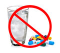 No pill concept do not eat the medicine with cold water on white Stock Photography