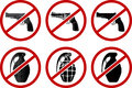 No pistols and grenades illustration Royalty Free Stock Photography