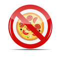 No pizza sign illustration Royalty Free Stock Images