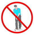No play game golf sign. golf man with golf clubs not play golf game isolated on white background