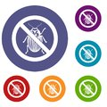 No potato beetle sign icons set