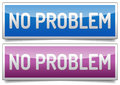 No problem banner colored glossy with shadow on white background Stock Photography