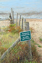 No public right of way on beach area photo a sign attached to posts coastal Royalty Free Stock Photos