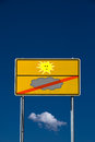 No rain road sign with symbols sun and cloud Royalty Free Stock Photos