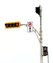 No right turn on red light intersection isolated on white background Royalty Free Stock Photo