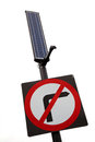No right turn sign with solar panel Royalty Free Stock Photos
