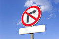 No right turn traffic sign over blue sky Royalty Free Stock Image