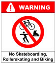 No roller blade, scooter, roller, skater or skating signs in red prohibition circle. Vector illustration. Royalty Free Stock Photo