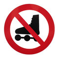 No rollerblading sign isolated on white Stock Photography