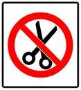 No scissors prohibition sign icon vector illustration