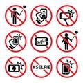 No selfies, no selfie sticks signs