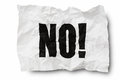 No sign on creased paper white background Stock Photo