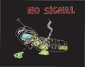 No signal crashed cellphone or connection lost concept illustration Royalty Free Stock Photography