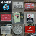 No smoking anywhere signs in new york is forbidden in most places in the city including public outdoor areas Royalty Free Stock Photos