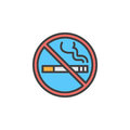 No smoking area line icon, filled outline vector sign, linear colorful pictogram isolated on white. Royalty Free Stock Photo