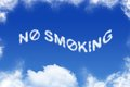 No smoking cloud text on blue background Royalty Free Stock Images