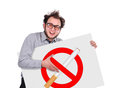 No smoking crazy businessman holding signboard with Stock Photo