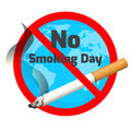 No smoking day. Ashtray and cigarette with red alert sign
