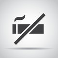 No smoking icon with shadow on a gray background. Vector illustration