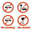 No smoking no alcohol sign warning icons Stock Photography