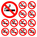 No smoking red symbols vector illustrations Stock Photos