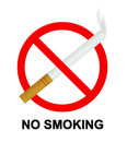 No smoking sign with cigarette on white background Royalty Free Stock Photos