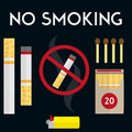 No smoking sign with cigarettes, lighter and matches. Vector illustration in flat style design. Royalty Free Stock Photo