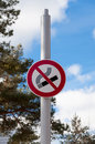 No smoking sign high pole indicating non smoking area outdoors Royalty Free Stock Photography