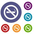 No smoking sign icons set
