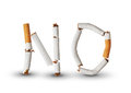 No smoking text made from broken cigarettes Stock Images