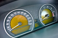 No speed closeup car speedometer with analogical display and fuel level indicator Royalty Free Stock Photography