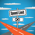 No speed limit plate abstract colorful background with two highways intersecting in the skies concept Stock Image