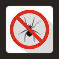 No spider sign icon, flat style Royalty Free Stock Photo