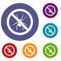 No spider sign icons set